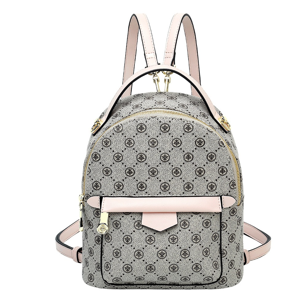 Ladies Mini Backpack Women PVC Fashion Shoulder Bag Classic Printed Backpack Preppy Style School Bag Large