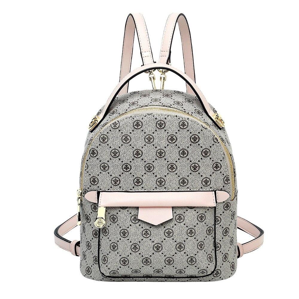 Ladies Mini Backpack Women PVC Fashion Shoulder Bag Classic Printed Backpack Preppy Style School Bag Large Zipper Shoulder Bag