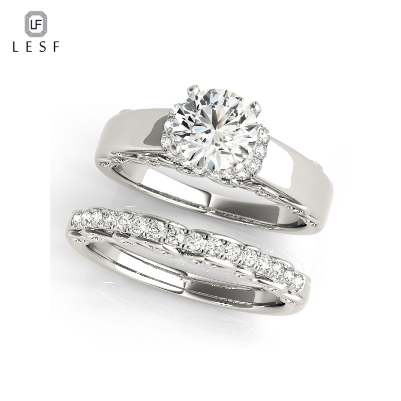 LESF Trendy 925 Sterling Silver Solitaire Engagement Ring Sets 1 Carat Simulated Sona Round Cut Ring Women Wedding Jewelry
