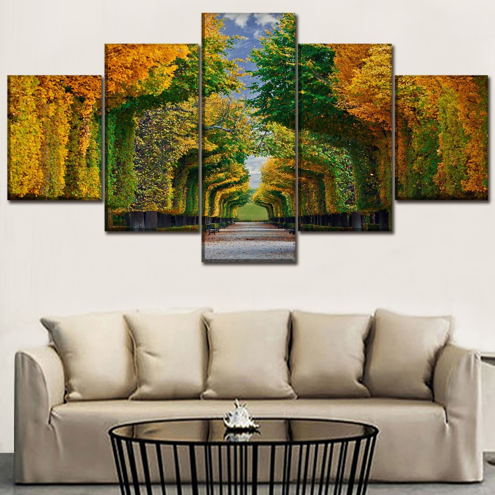 Canvas Wall Art Print Painting Home Decorative Living Room Framework 5 Piece Austria Fall Foliage Gardens Tree Landscape Picture in Painting Calligraphy from Home Garden