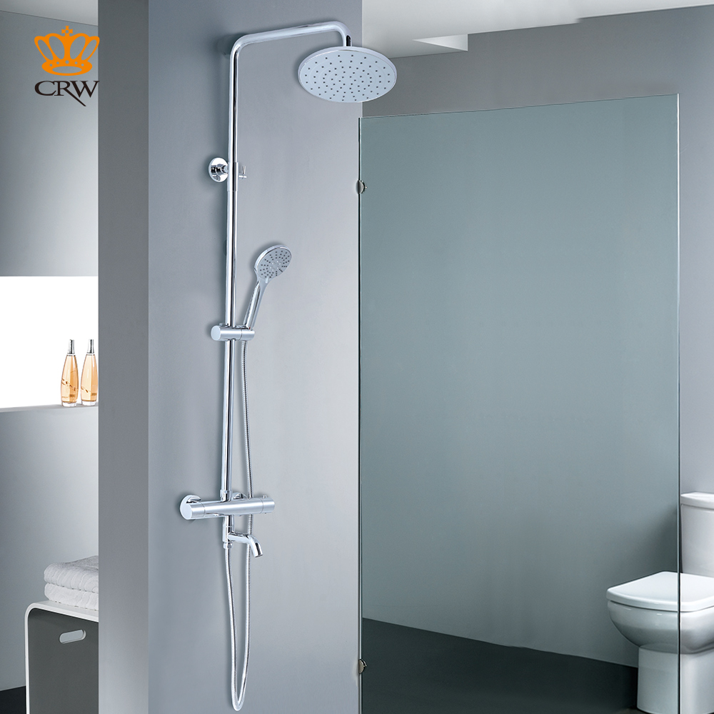 CRW 3 Function Thermostatic Shower Bath Mixer Chrome Wall Mounted W ...