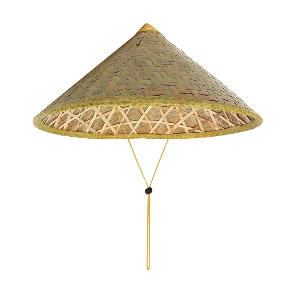 Light Weight Straw Sun Shade Farmer Conical Cone Hat Beige One Size