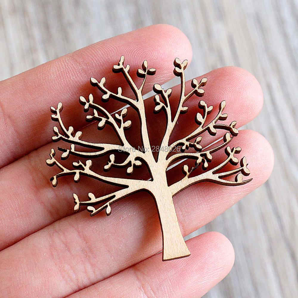 Tree With Leaves Wooden Embellishments For Craft Wooden Ornament Silhouette Small Gift Tags Laser Cut Crafting Supplies Tree Cutting Tree Leaftree Wood Crafts Aliexpress