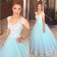 2019 fashion light blue lace quinceanera dress ball gown cap sleeve masquerade ball dresses sweet sixteen dresses plus size gown