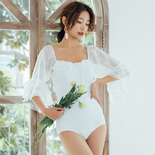 Vintage Korean White One Piece Swimsuit 2019 Sexy Swimwear Women Long Sleeve Bodysuit Monokini Bathing Suit