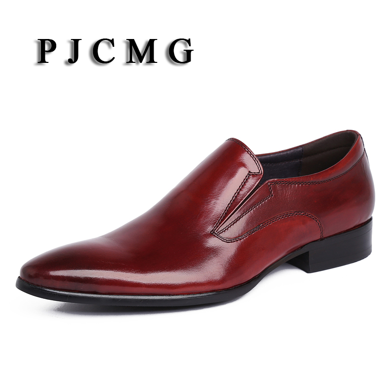 PJCMG New Spring Autumn Luxury Handmade Genuine Leather High Heels Dress Oxford Flat Original Brand Men