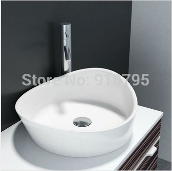 Triangular Bathroom Solid Surface Stone Counter Top Vessel