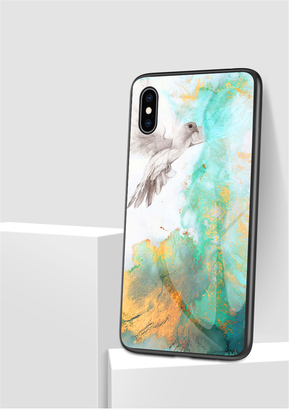 Animal - Luxury Marble Phone Case for iPhone X Xs Max Glass PC pigeo