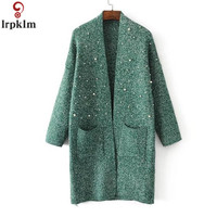 Women's Beading knitting Cardigan Studded Sweater Fall New Long Style Pure Color Loose Large Size Casual Sweater Outside CH341
