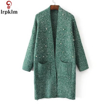 d5ff847a50 Women s Beading knitting Cardigan Studded Sweater Fall New Long Style Pure  Color Loose Large Size Casual