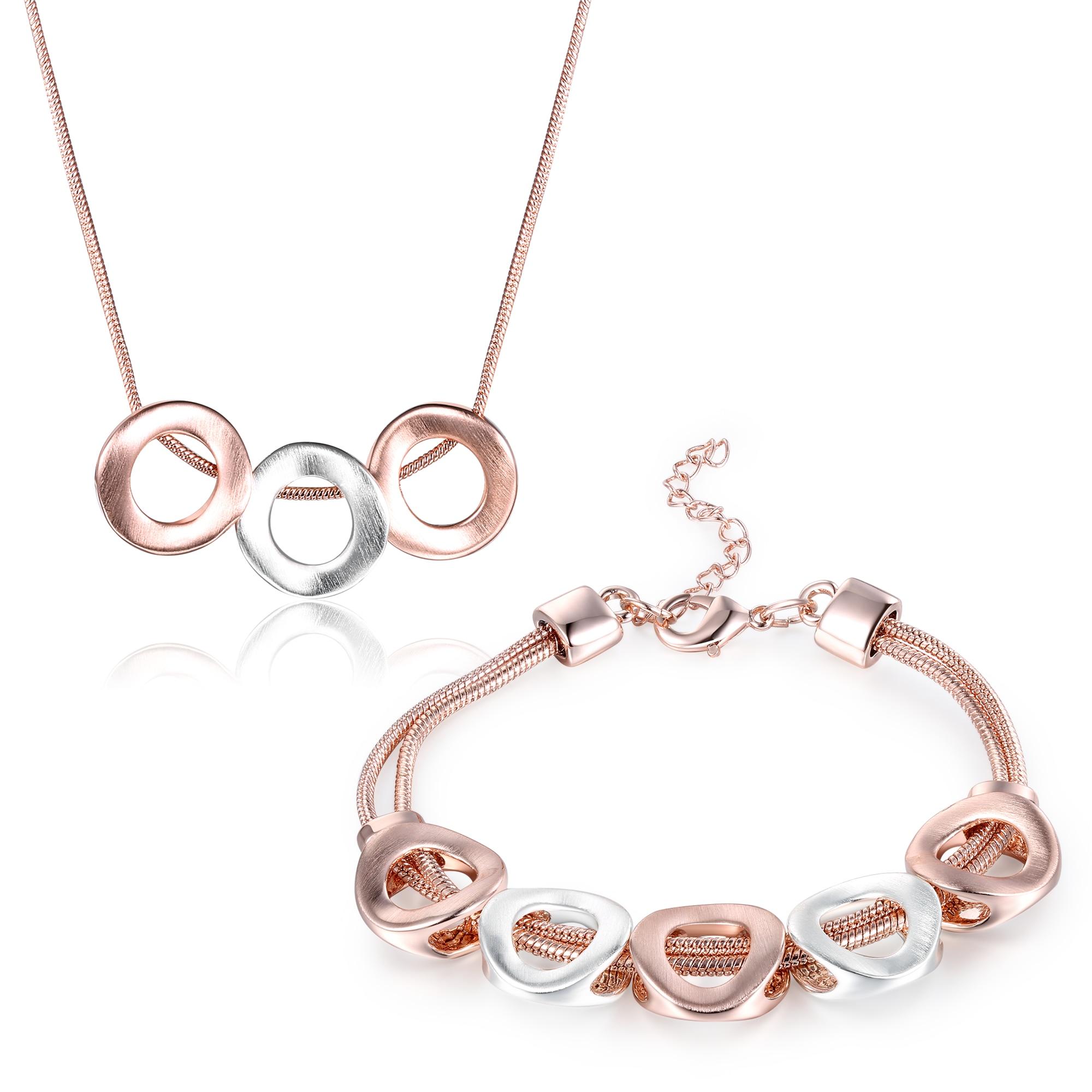 6186943f52cf ROXI Rose Gold Silver Round Circle Jewelry Set para mujer moda Rose Gold  cadena collar pulsera multicapa conjuntos de joyería - a.williamcho.me