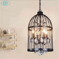 American vintage wrought iron staircase Cafe clothing bar lights Metal cage lustres pendant lamp industiral hanging lights home