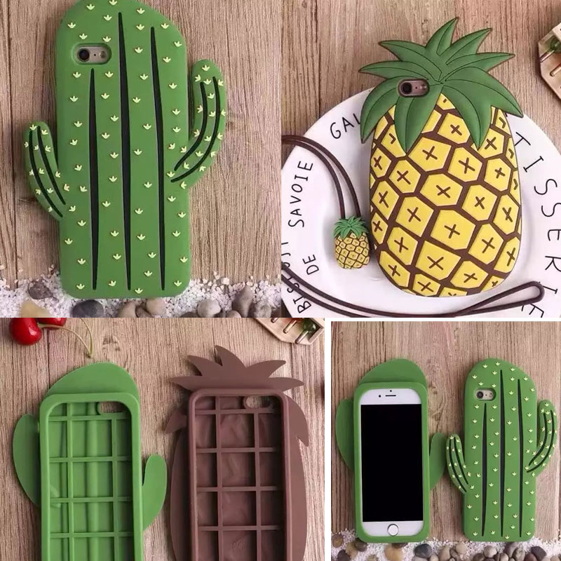 98e3a005ec2 Fashion 3D pineapple Cacti Cactus Soft Silicone Case For IPhone 7 7Plus  Rubber Gel Green Vertical Line Phone Cover on Aliexpress.com