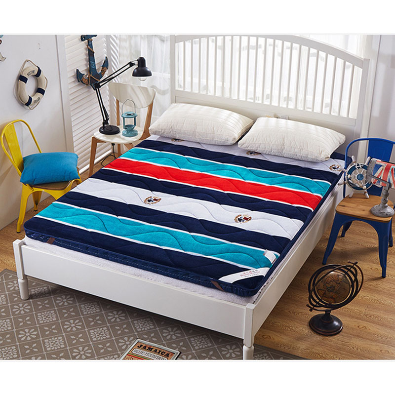 FangHua 1.8m Foldable blue stripes Mattress Thicken student dormitoryTatami For Family Bedspreads King Queen Twin Full Size цена
