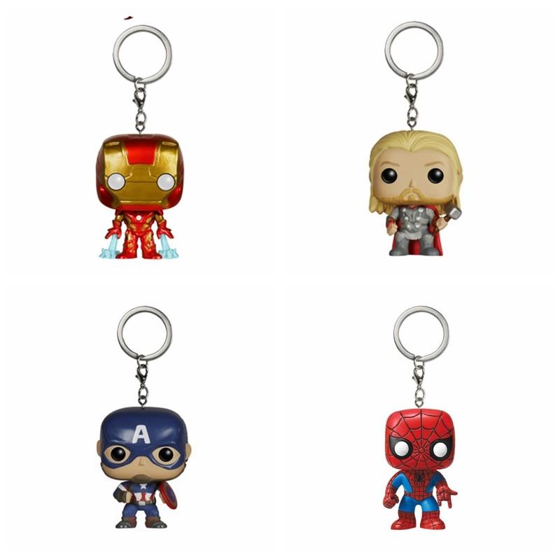 Mini The Avengers SpiderMan Hulk Batman Thor Deadppool POP Action Figure Toy With Keychain NO Box
