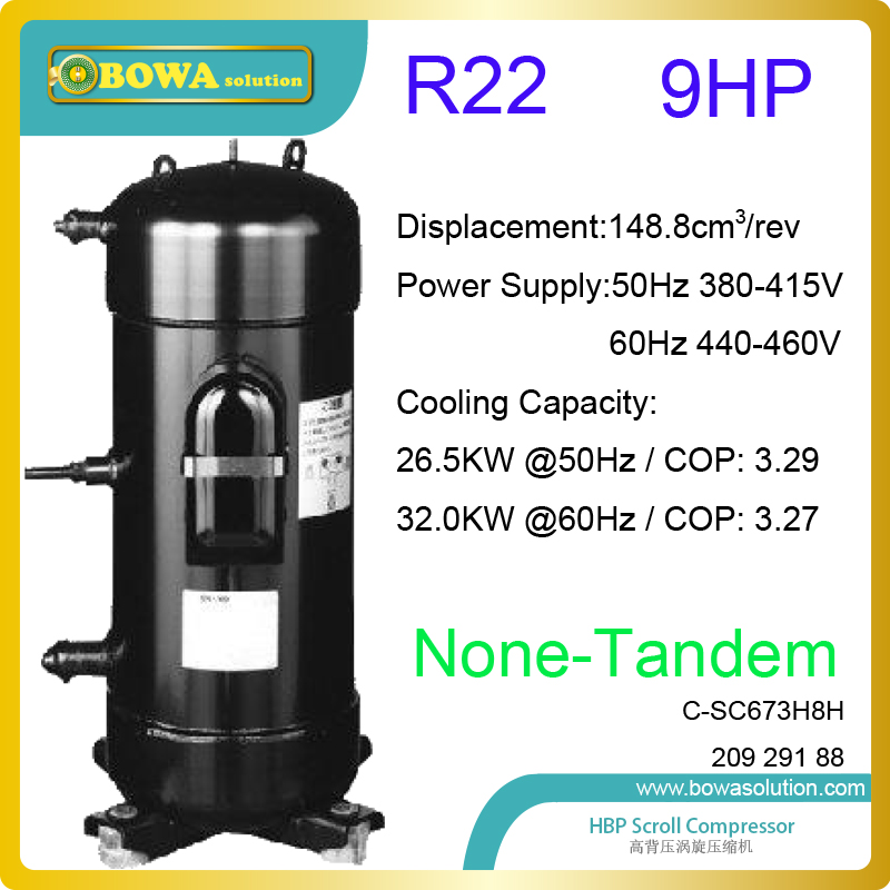 9HP hermetic scroll R22 coolant compressors are used in water source or geothermal heat pump water heater & air conditioners
