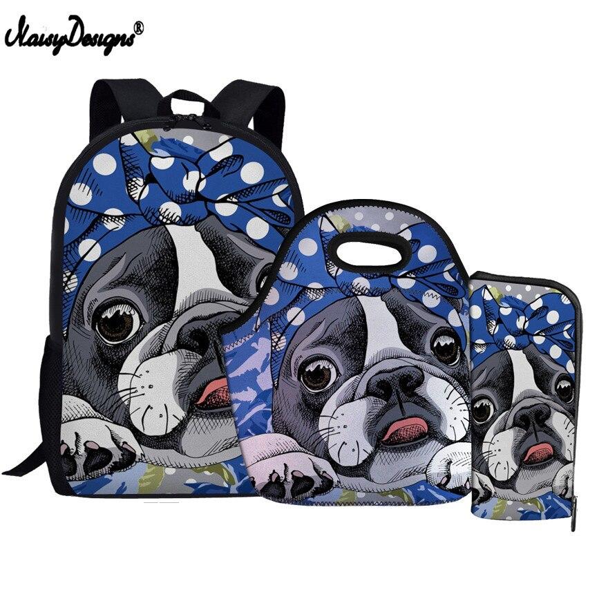 Children Backpack Satchel Harajuku School Bags 3pcsset Boston Terrier Print Orthopedic Backpacks for Teenager Girls Schoolbag