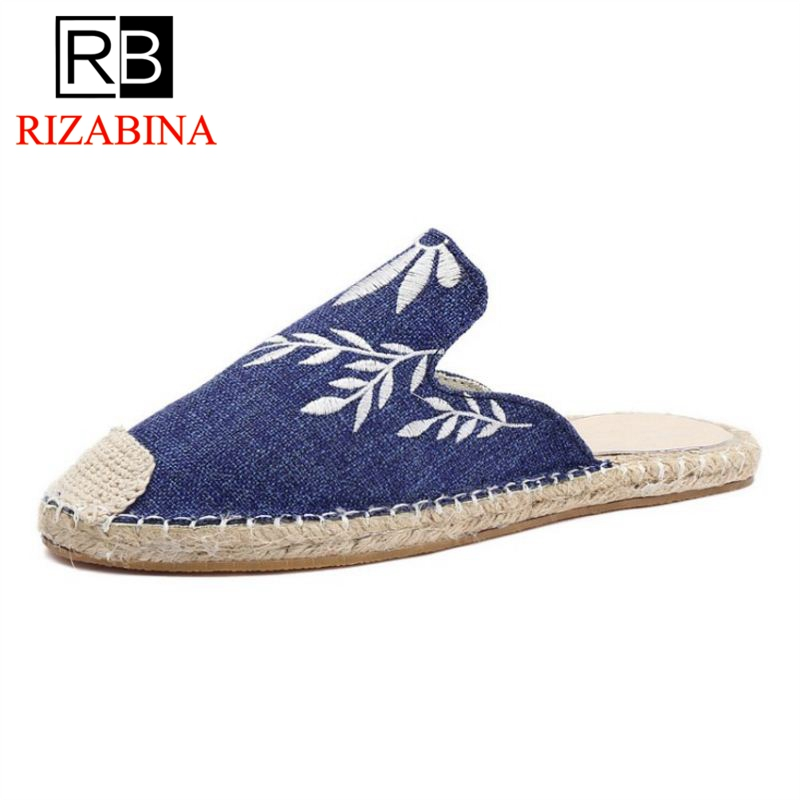 RizaBina Women Slippers Round Toe Print Feamle Summer Shoes Fashion Vintage Women Shoes Daily Vacation Footwear Size 35-39