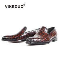 VIKEDUO 2019 Neue 100% Krokodil Leder Loafer Schuhe Männer Patina Handgemachte Slip-Auf Mans Schuhe Casual Runde Kappe Hochzeit zapatos