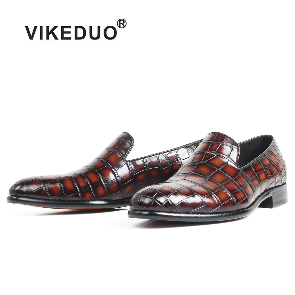 VIKEDUO 2019 New 100% Crocodile Leather Loafers Shoes Men Patina Handmade Slip-On Mans Footwear Casual Round Toe Wedding Zapatos