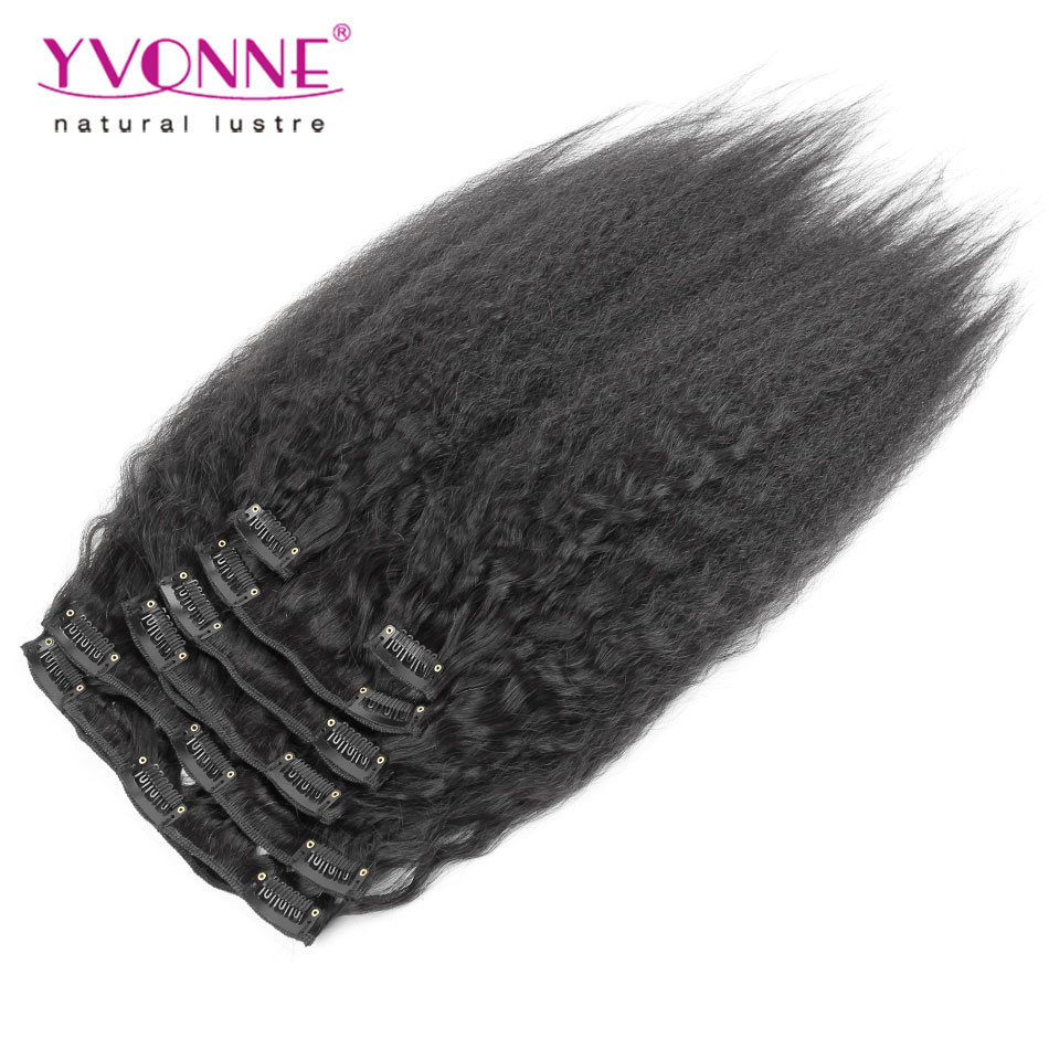 Yvonne Brazilian Virgin Kinky Straight Clip in Hair Extensions, 100% Human Hair Yaki Clip In Extensions, 7Pcs/set, Color 1B