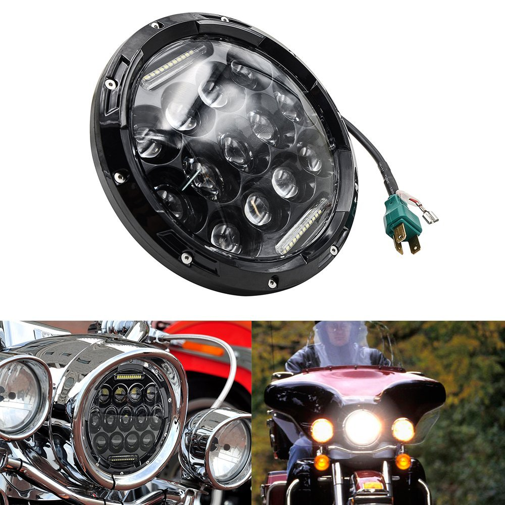 ФОТО Hot Sale 7 Inch 75W LED Headlight With High/Low Beam Dayrunning Light For Wrangler 07-14 Harley
