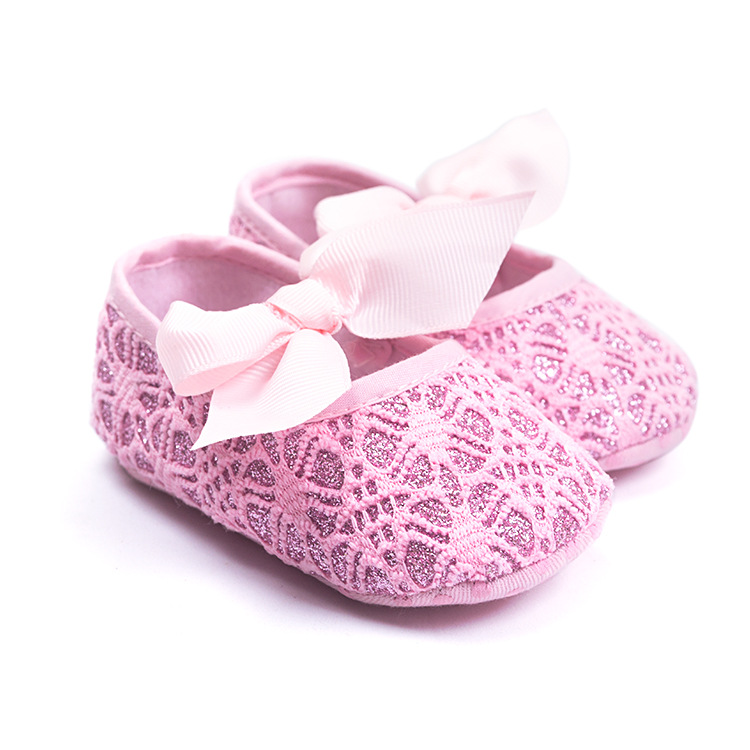 Cute Pink Newborn Baby First Walkers Shoes Soft Sole Infant Girls Bow-knot Shoes High Quality Lace Bebe Crib Shoes.CX67C