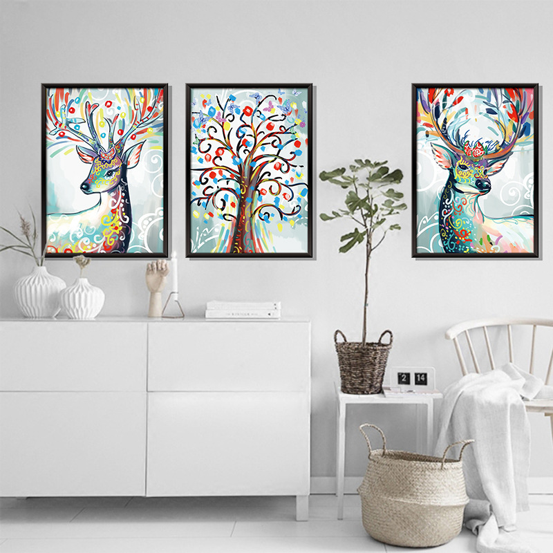 3Pcs/1Set Three-Dimensional Triptych Watercolor Elk Wall Sticker Study Dormitory Removable Home Decor Autocollant Mural