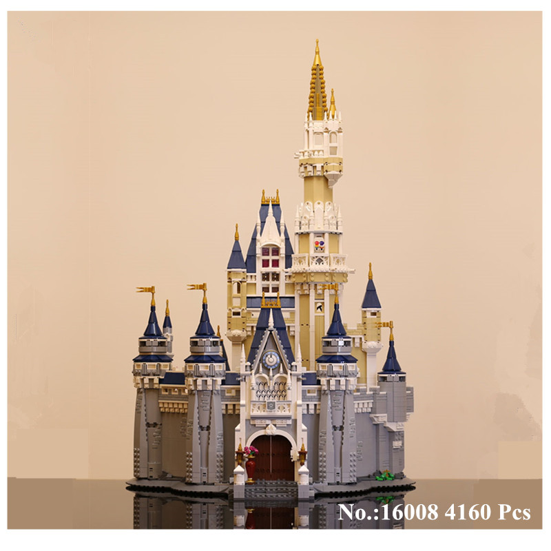 H&HXY IN STOCK 16008  4160Pcs Cinderella Princess Castle Model Building Kits Block Bricks Toys Free shipping 71040 Gift LEPIN lepin 16008 creator cinderella princess castle city 4080pcs model building block kid toy gift compatible 71040