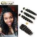 8A Grade Ali Moda Hair With Closure Indian Virgin Hair With Closure Loose/Natural Wave With Closure 4*4 Cheap Human Hair Weave