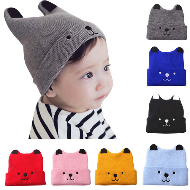 Winter Warm Baby Hat NewBorn Kids Boys Girls Cartoon Bear Printed Wool  Crochet Knitted Hats Cap Kids Baby Accessories AU16 F 9416313497ff