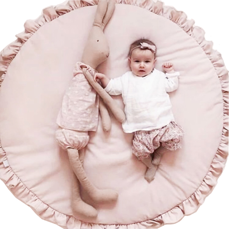 Children Baby Game Mat Play Crawling Blanket Sleeping Pad Sitting Cushion Round Lace Mat Super Soft Rug Bedroom Decoration