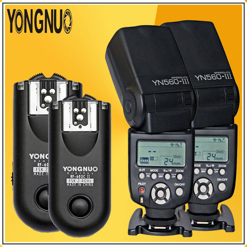 YONGNUO Optimal Kit 2*YN560 YN560-III HSS 1/8000s Radio Flash Speedlite + 2Pcs RF603C Wireless trigger receiver For Canon Nikon  yongnuo yn 560 iv yn560 wireless ttl hss master radio flash speedlite 2pcs rf 605c rf605 lcd wireless trigger for canon camera