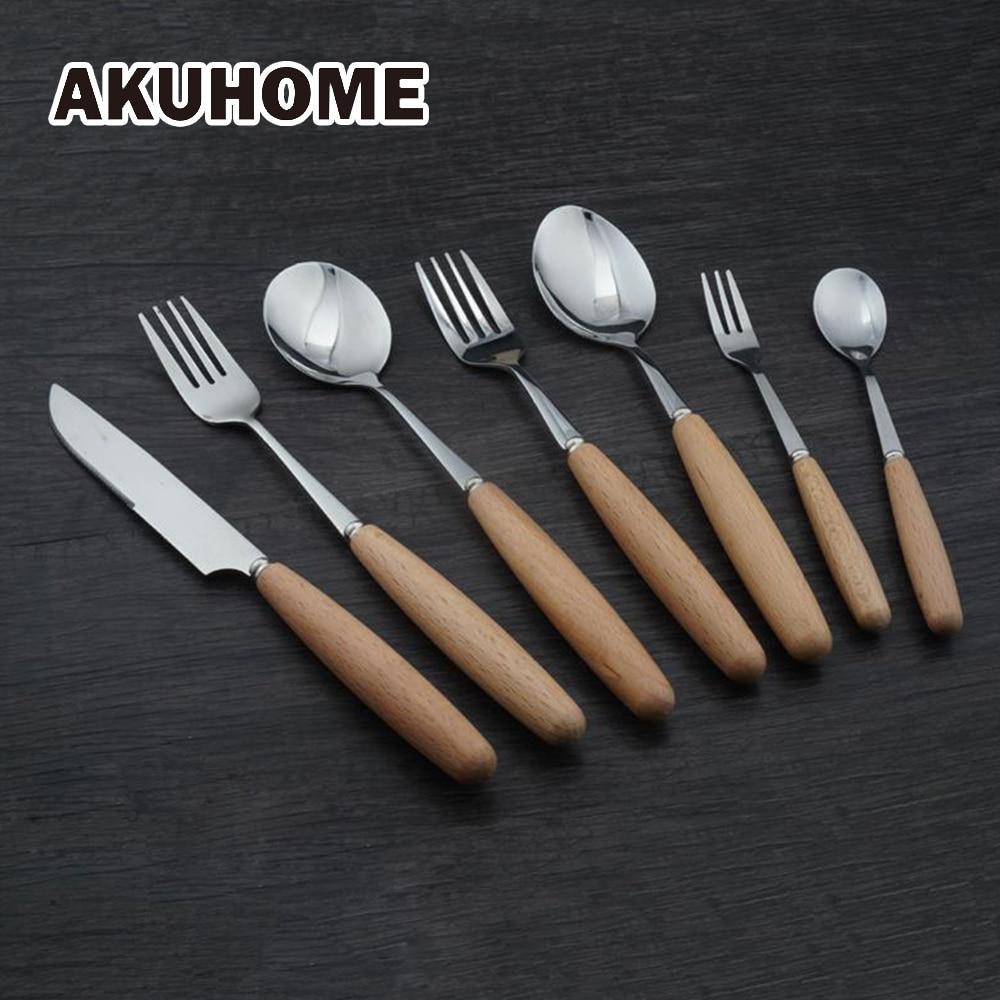 Cool Gadgets Wood Handles Stainless Steel Coffee Ice Cream Dessert Fork Stirring Coffee Scoops Tableware