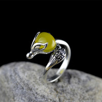 The Character Of Silver S925 Silver Jewelry Silver Seiko Lady Huang Yusui Fox Charm Life Ring