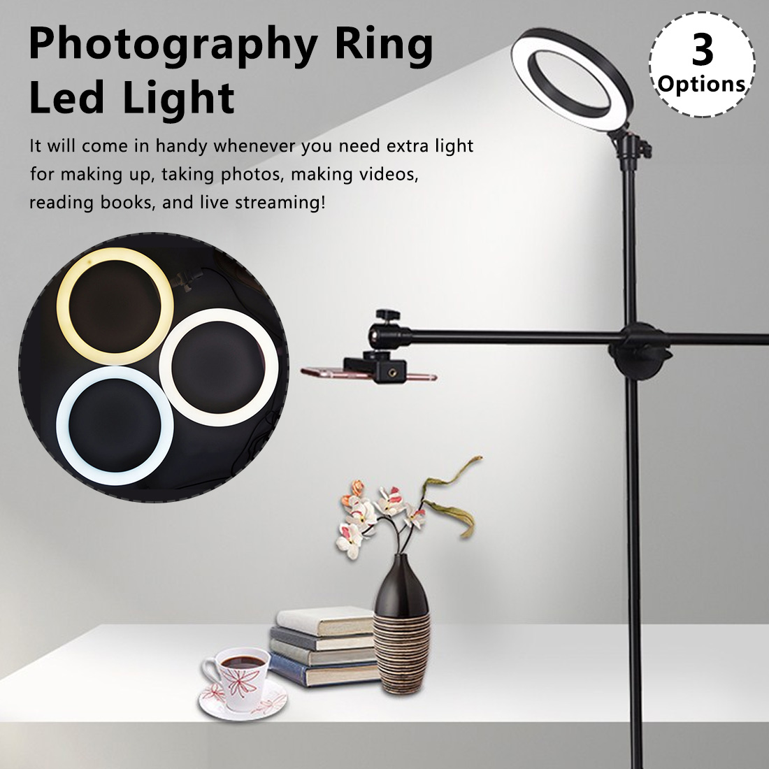 USB Plug Photo Dimmable LED Selfie Ring Light With Tripods Selfie Stick Ring Fill Light For Camera Phone Holder