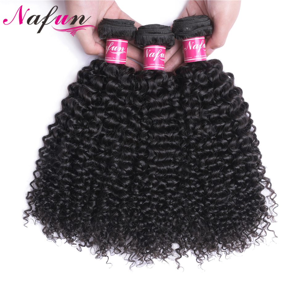 NAFUN Hair Kinky Curly Brazilian Hair Weave 3 Bundles Natural Color 8-26 Inch Non Remy 100% Human Hair Extension Free Shipping
