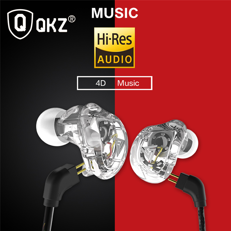 New QKZ VK1 4DD In Ear Earphone HIFI DJ Monito Running Sport Earphones Earplug Headset Earbud ZS10 ZS6 fone de ouvido audifonos in Phone Earphones Headphones from Consumer Electronics
