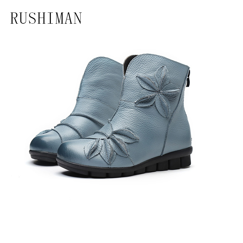RUSHIMAN Winter New Folk Style Embossed Leather Boots Shoes Retro Comfortable Boots A Handmade Flowers