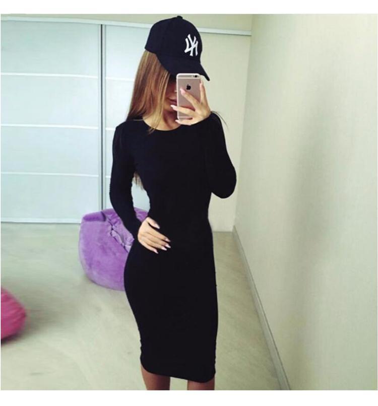 HTB10HtvaAH0gK0jSZPiq6yvapXaX 2019 Autumn Hot Slim Bodycon Dress Women Solid Color Chic Party Dresses Casual Sleep Wear Inside Wear Vestidos Pencil Dress