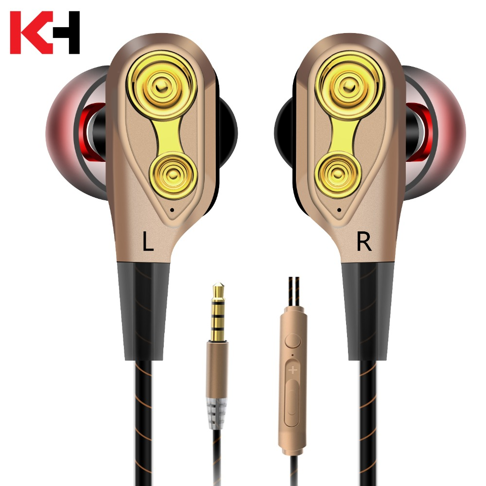 KHH Dual Driver Earphones Stereo Bass Headset 3.5mm Wired Earphone Sport Running Earbuds With Mic Universal For Samsung iPhon