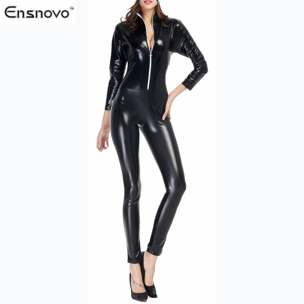 Awesome 2018 Sexy Faux Leather Jumpsuit Women Open Chest Lace Up Romper Tight Fitting Catsuit Novelty ...