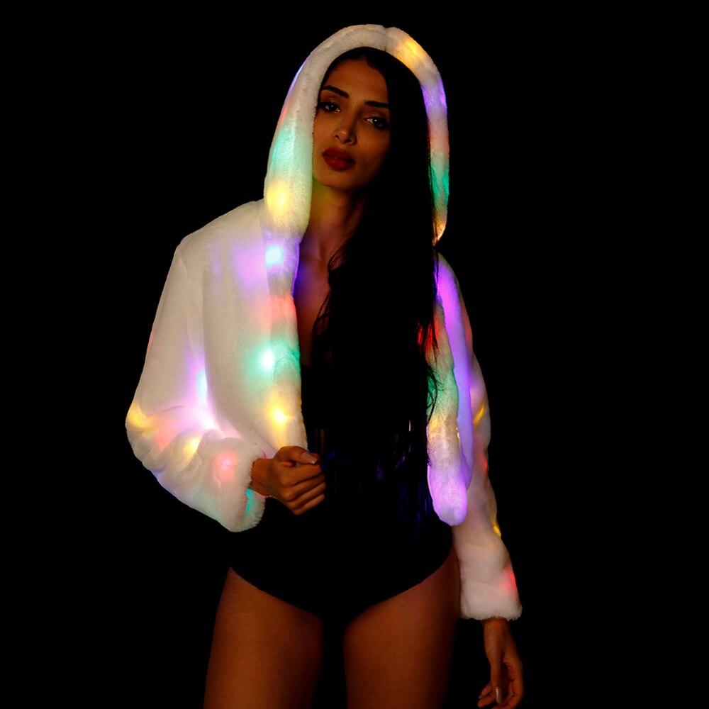 ohlees Women Faux Fur Winter Coat Jakcet Light Up Fluffy Sparking LED Costume Outwear