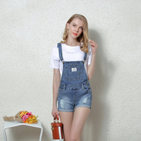 Good Quality Women Shorts Jeans 2017 New Summer Hole Shorts Overalls Suspenders Bib Denim Shorts School