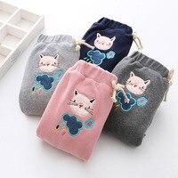 Baby Girl Sports Pants Children Winter Velvet Pants Girls Warm Clothes Kids Plus Velvet Thickening Cat