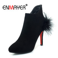 ENMAYER Winter High Heels Pointed Toe New Zip Woman Shoes Office Lady Boots Sexy red black Feather Short Plush warm shoes CR862