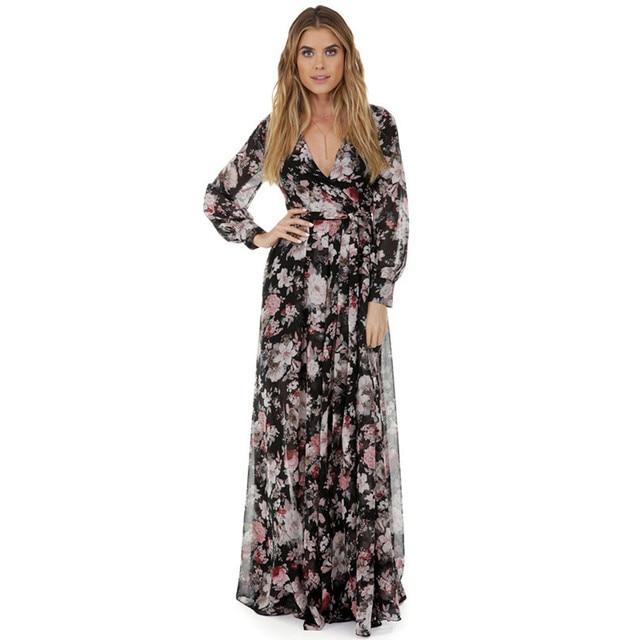 78891b8acd4476 Vrouwen Sweet bloemenprint Lange maxi jurk Herfst 2017 lange mouw V-hals  Europese stijl Chiffon
