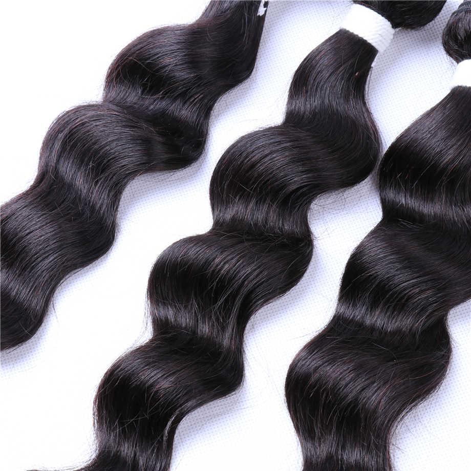 Свободные глубокие волнистые пучки бразильских локонов плетение пучки с закрытием пучки волос Remy с закрытием волос