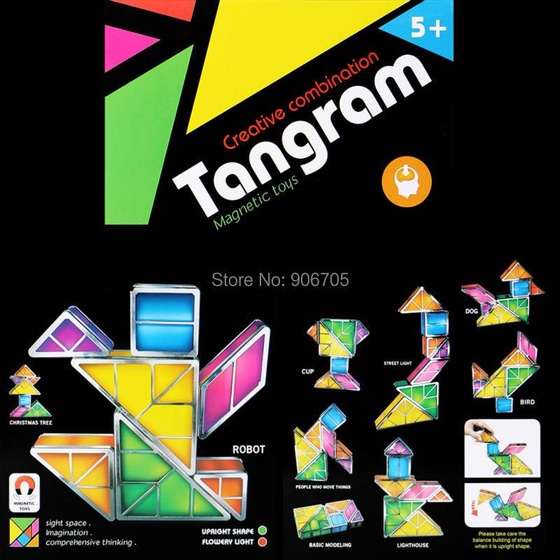 Creative combination Tangram Magnetic toys with light Magnetic Building blocks Illuminated Blocks Classic Smart Electronic Kit