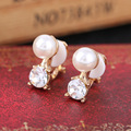 Simulated pearl clip Jewelry, non pierced ear clip on earrings with rhinestone for female brincos boucle d'oreille